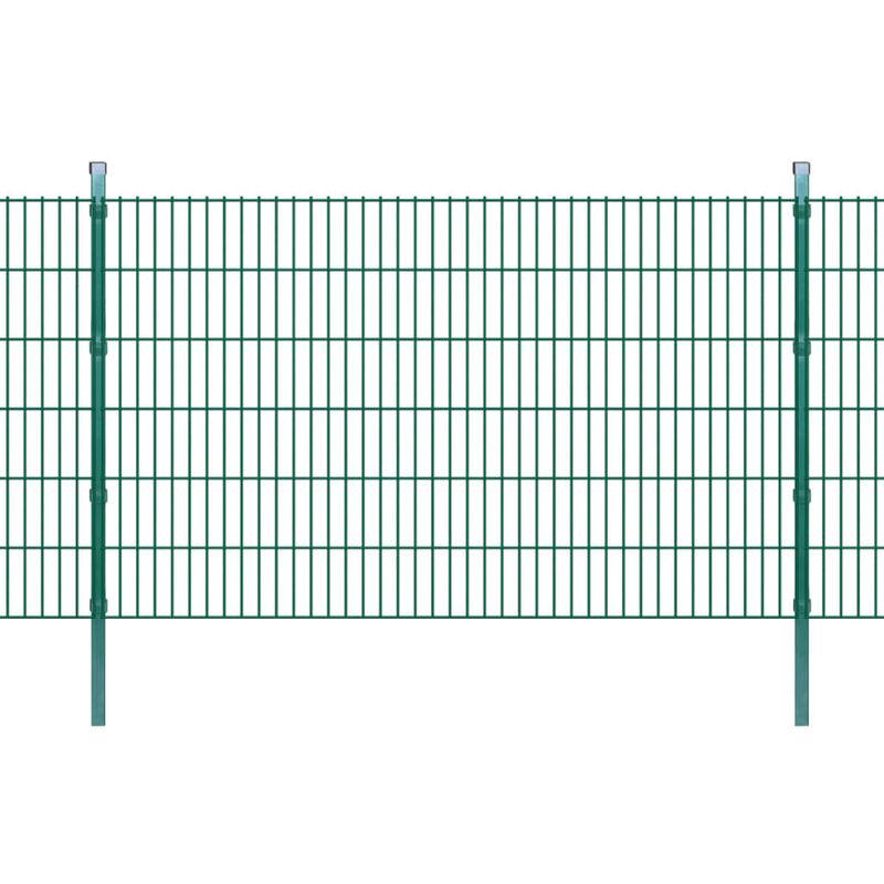 Panneaux et Poteaux de Clôture 2D pour Jardin Vert 2008x1230 mm 10 m