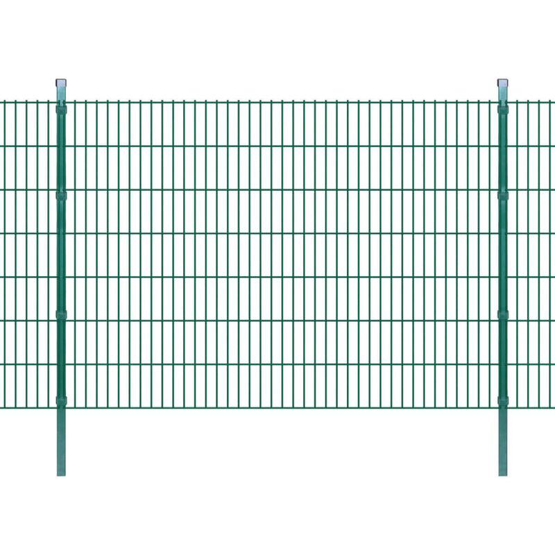 Panneaux et Poteaux de Clôture 2D pour Jardin Vert 2008x1430 mm 10 m