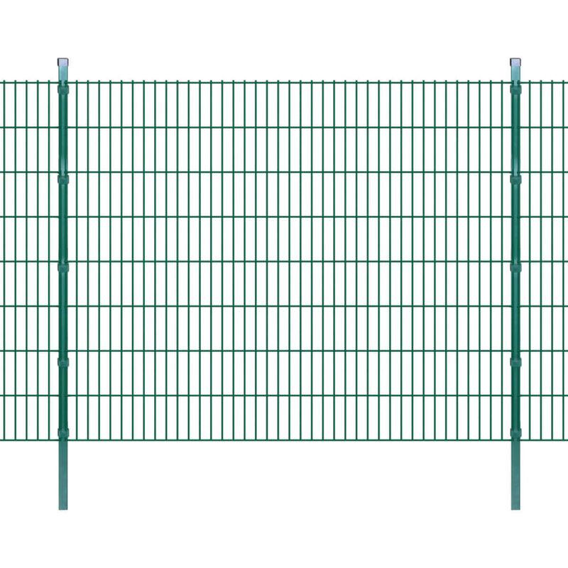 Panneaux et Poteaux de Clôture 2D pour Jardin Vert 2008x1630 mm 10 m