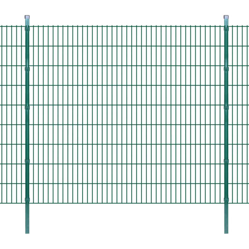 Panneaux et Poteaux de Clôture 2D pour Jardin Vert 2008x1830 mm 10 m