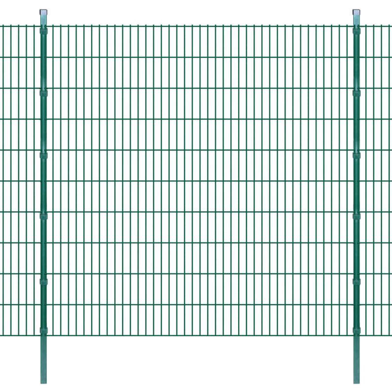 Panneaux et Poteaux de Clôture 2D pour Jardin Vert 2008x2030 mm 10 m