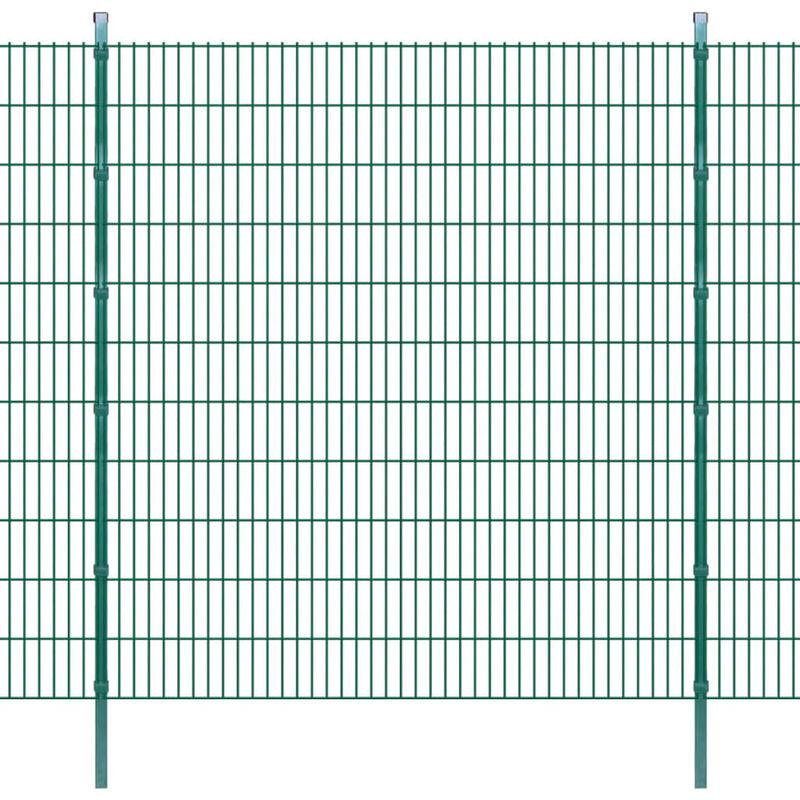 Panneaux et Poteaux de Clôture 2D pour Jardin Vert 2008x2230 mm 10 m