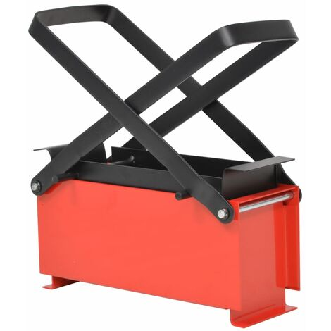 """main image of """"vidaXL Paper Log Briquette Maker Steel 34x14x14 cm Black and Red - Red"""""""