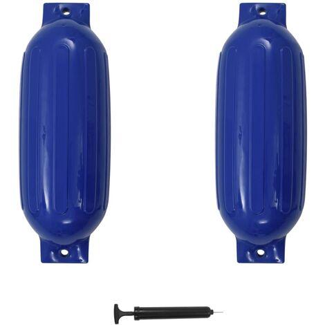 vidaXL Parachoques de barco 2 piezas PVC azul 69x21,5 cm