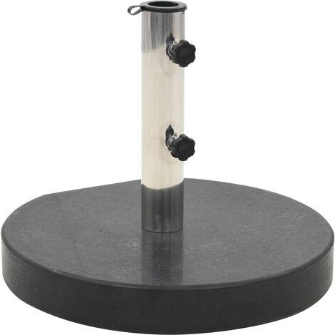vidaXL Parasol Base Granite 30 kg Round Black - Black