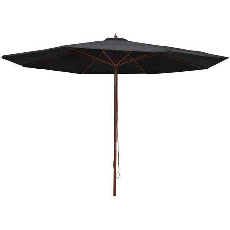 vidaXL Parasol d'Extérieur avec Mât en Bois Parasol de Patio Parasol de Terrasse Parasol de Jardin Parasol de Balcon Pare-soleil 350 cm Noir/Bleu