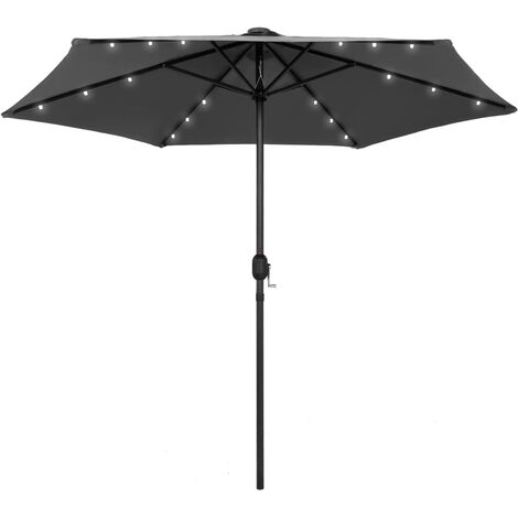 vidaXL Parasol with LED Lights and Aluminium Pole 270 cm Anthracite - Anthracite
