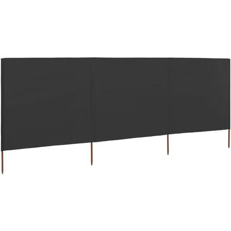 vidaXL Paravientos de playa de 3 paneles de tela 400x120 cm gris - Antracita