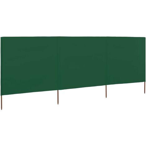 vidaXL Paravientos de playa de 3 paneles de tela 400x120 cm verde - Verde