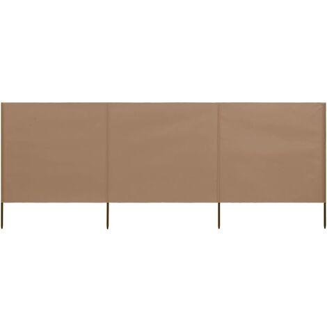 vidaXL Paravientos de playa de 3 paneles tela gris taupe 400x80 cm - Marrón