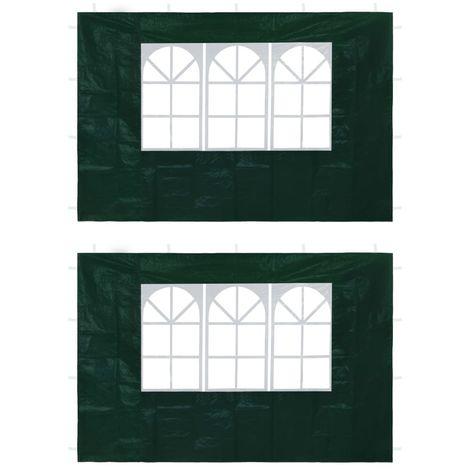 vidaXL Paredes laterales de carpa de fiesta con ventana verde 2 uds