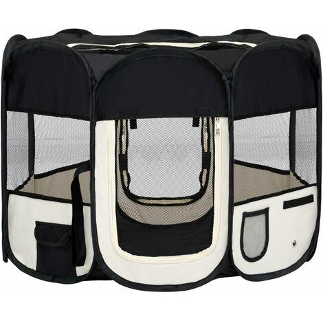vidaXL Parque de perros plegable bolsa de transporte negro 90x90x58 cm - Negro
