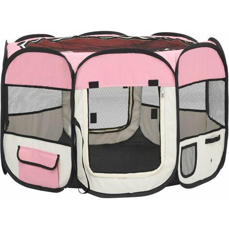 vidaXL Parque de perros plegable bolsa de transporte rosa 90x90x58 cm - Rosa