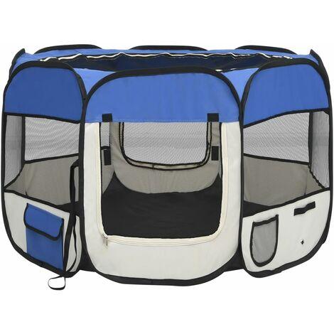 vidaXL Parque de perros plegable y bolsa de transporte azul 90x90x58cm - Azul