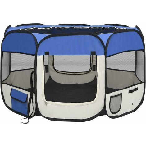 vidaXL Parque de perros plegable y bolsa transporte azul 110x110x58cm - Azul