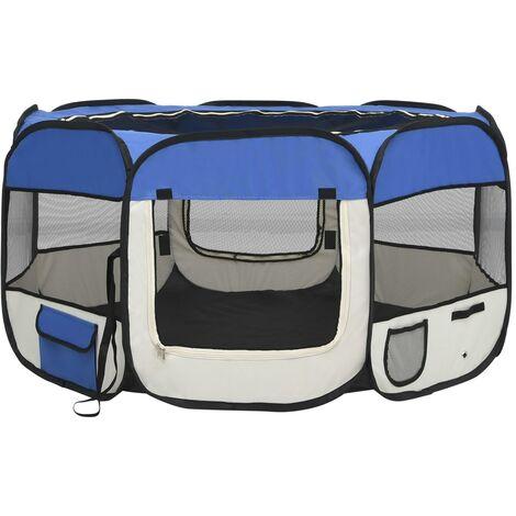 vidaXL Parque de perros plegable y bolsa transporte azul 125x125x61cm - Azul