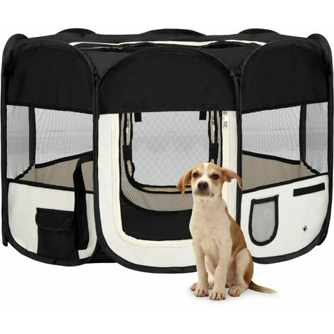 vidaXL Parque de perros plegable y bolsa transporte negro 110x110x58cm - Negro