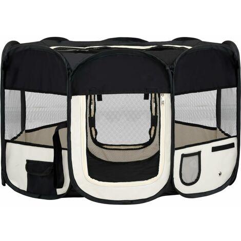 vidaXL Parque de perros plegable y bolsa transporte negro 125x125x61cm - Negro
