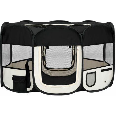 vidaXL Parque de perros plegable y bolsa transporte negro 145x145x61cm - Negro