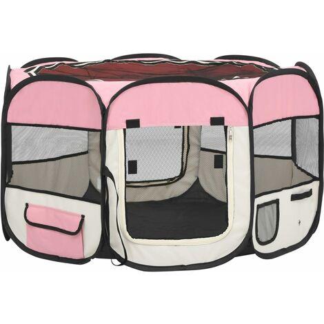 vidaXL Parque de perros plegable y bolsa transporte rosa 110x110x58cm - Rosa