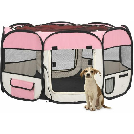 vidaXL Parque de perros plegable y bolsa transporte rosa 125x125x61cm - Rosa