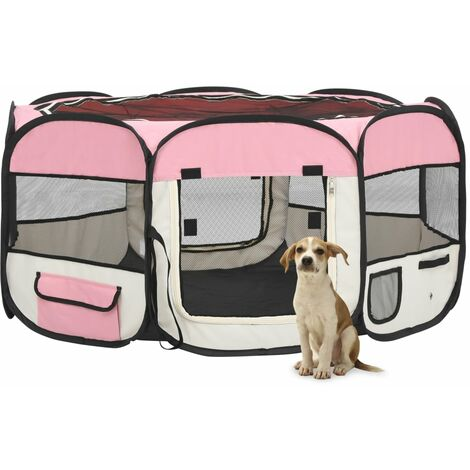 vidaXL Parque de perros plegable y bolsa transporte rosa 145x145x61cm - Rosa