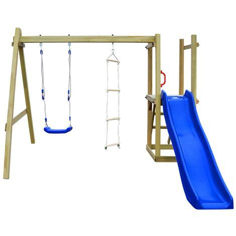 vidaXL Parque infantil con tobogan escaleras y columpio de madera FSC