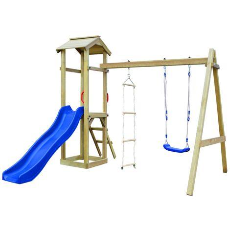 vidaXL Parque infantil con tobogán, escaleras y columpio de madera - Multicolor