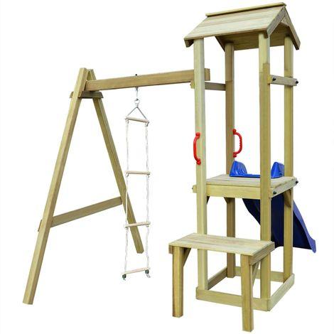 vidaXL Parque infantil con tobogan y escalera de madera FSC