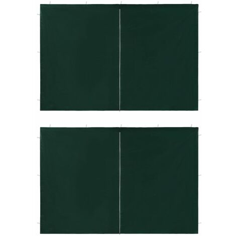 vidaXL Party Tent Doors 2 pcs with Zipper Green - Green
