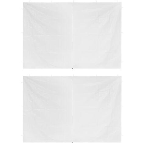 vidaXL Party Tent Doors 2 pcs with Zipper White - White