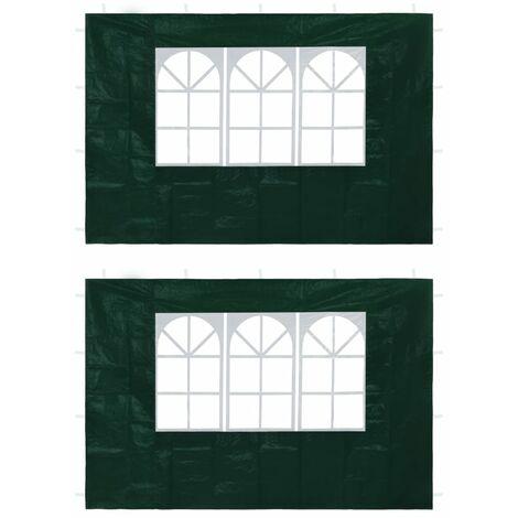 vidaXL Party Tent Sidewalls 2 pcs with Window Green - Green