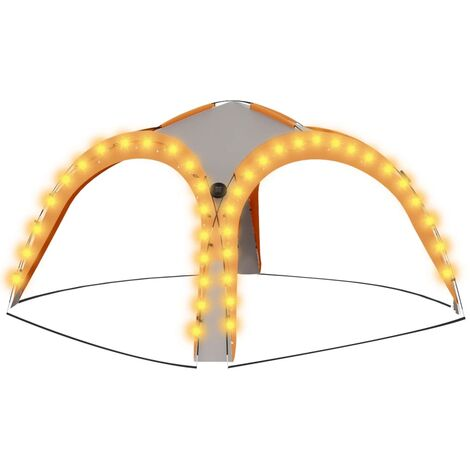 """main image of """"vidaXL Party Tent with LED and 4 Sidewalls 3.6x3.6x2.3 m Grey&Orange - Grey"""""""