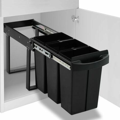 """main image of """"vidaXL Pattumiera Estraibile per Mobile Cucina Eco 36 L Soft-Close - Nero"""""""