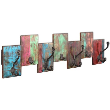 """main image of """"vidaXL Perchero con 7 ganchos de madera maciza reciclada - Multicolor"""""""