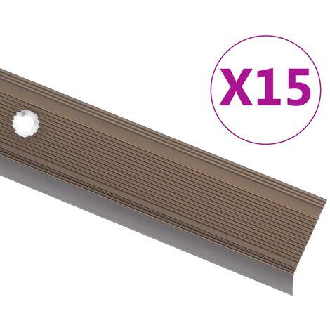vidaXL Perfiles de peldaños forma de L 5 uds aluminio marrón 90 cm - Marrón