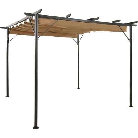 vidaXL Pérgola con tejado retráctil acero gris taupe 3x3 m 180 g/m² - Gris Topo