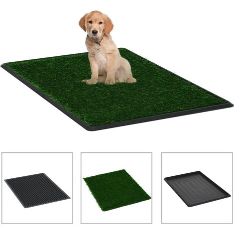 """main image of """"vidaXL Pet Toilet with Tray & Faux Turf Green 76x51x3 cm WC"""""""