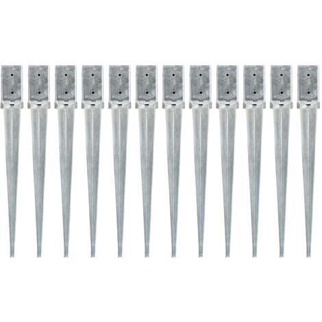 vidaXL Picas de tierra 12 uds acero galvanizado plateado 8x8x76 cm