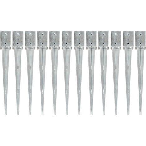 vidaXL Picas de tierra 12 uds acero galvanizado plateado 9x9x75 cm