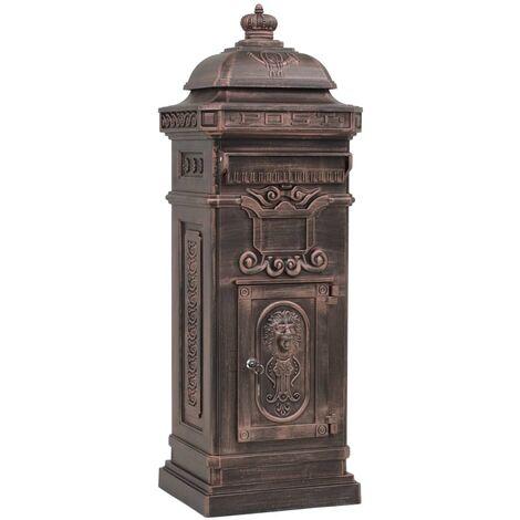 vidaXL Pillar Letterbox Aluminium Vintage Style Rustproof Bronze - Brown