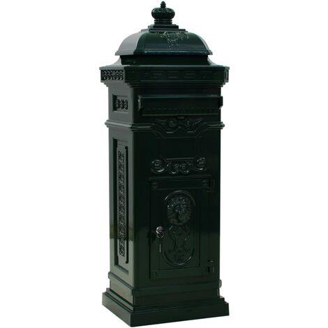 vidaXL Pillar Letterbox Aluminium Vintage Style Rustproof Green - Green