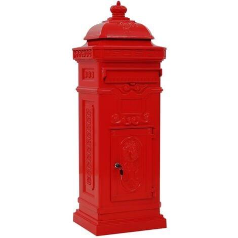 vidaXL Pillar Letterbox Aluminium Vintage Style Rustproof Red - Red