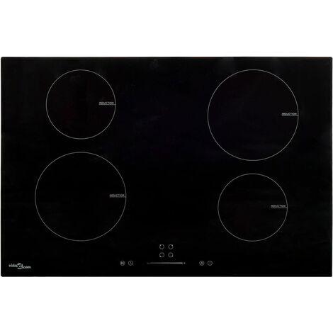 vidaXL Placa de inducción 4 quemadores táctil vidrio 77 cm 7000 W - Negro
