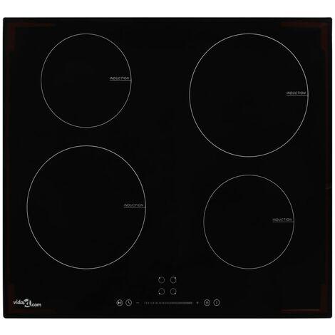 vidaXL Placa vitrocerámica de inducción 4 quemadores táctil 7000 W - Negro