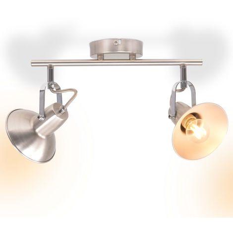 vidaXL Plafonnier pour 2 ampoules E14 Argente