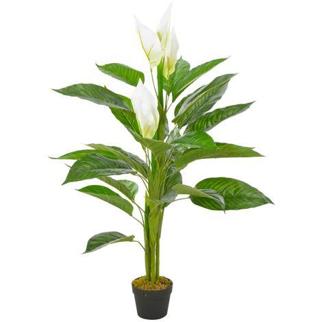 vidaXL Planta artificial Anthurium con macetero 115 cm blanco - Blanco