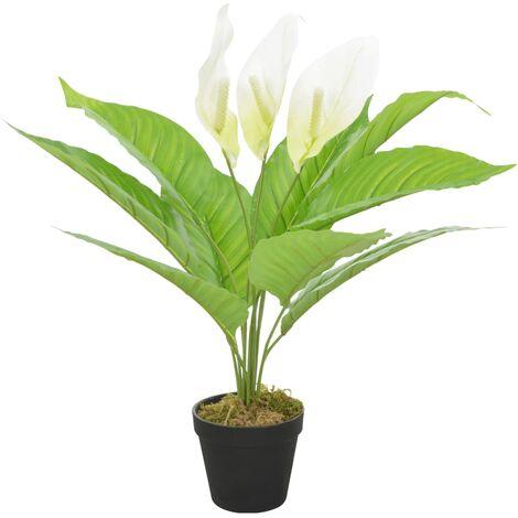 vidaXL Planta artificial Anthurium con macetero 55 cm blanca - Blanco