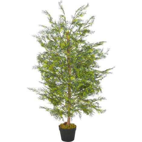vidaXL Planta artificial arbol cipres con macetero 120 cm verde