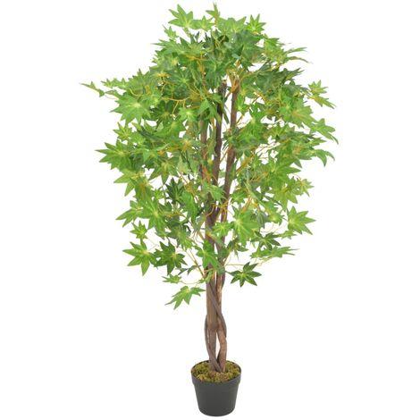vidaXL Planta artificial arbol de arce con macetero verde 120 cm